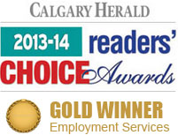 Diversfieid Staffing is the 2013 - 2014 GOLD winner for Employment Services at the Calgary Herald 2013-14 Readers' Choice Awards